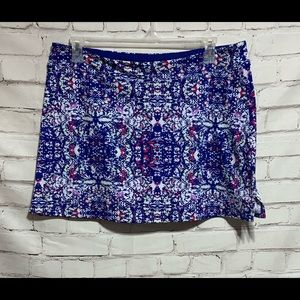 TRANQUILITY By Colorado Clothing Sz XL Red White Blue Floral Skirt Skort Golf